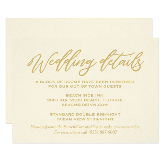Gold Script Wedding Details Hotel Accommodations Card