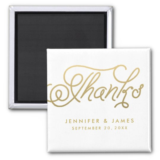 Gold Script Wedding Favour Thank You Magnets