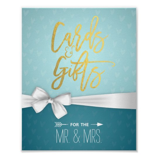 Gold Script White Ribbon Cards Gifts Wedding Sign