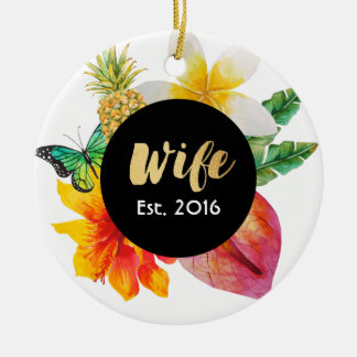 Gold Script Wife Tropical Floral Christmas Ornament
