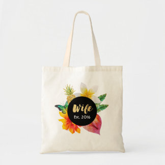 Gold Script Wife Tropical Floral Tote Bag