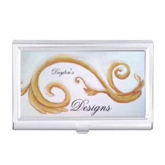 Gold scroll front of business card holder