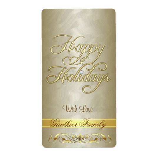 Gold Scroll Happy Holidays Wine Label Shipping Label