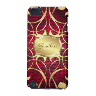 Gold Scroll Heart Red Stained Glass Ipod  Case