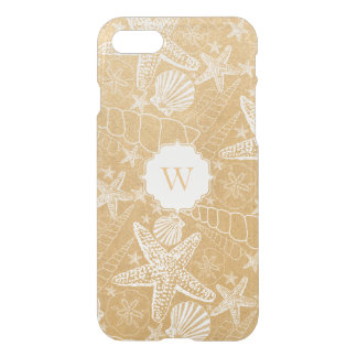 Gold Sea Shell Pattern with monogram iPhone 8/7 Case