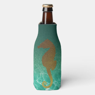 Gold Seahorse and Turquoise Glitter Bottle Cooler