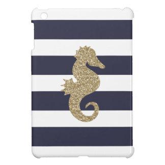 Gold Seahorse Navy & White Stripes iPad Mini Case