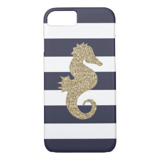 Gold Seahorse Navy & White Stripes iPhone 7 Case
