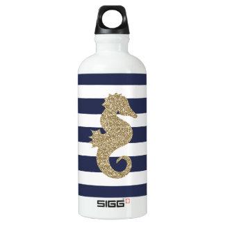 Gold Seahorse Navy White Stripes SIGG Water Bottle