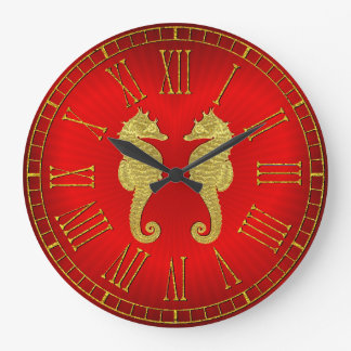 Gold Seahorses and Heart Large Clock