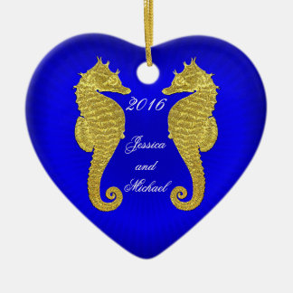 Gold Seahorses and Heart Personalize Christmas Ornament