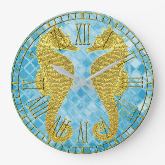 Gold Seahorses Blue Sea Glass Large Clock