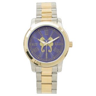 Gold Seahorses Monogram Personalize Watch