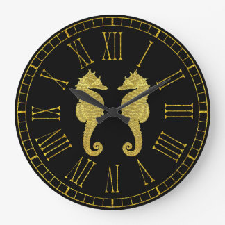 Gold Seahorses Your Background Color Large Clock