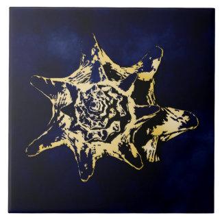Gold Seashel With Dark Blue Background design Tile