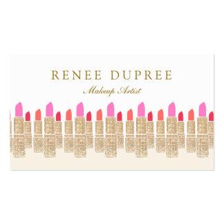 Gold Sequin Lipstick Makeup Artist Beauty Salon 5 Business Cards