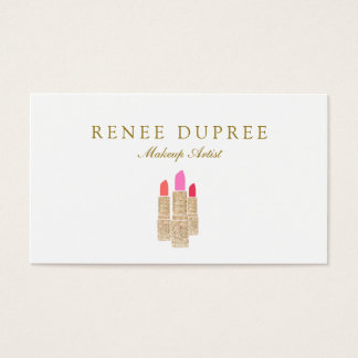 Gold Sequin Lipstick Makeup Artist Beauty Salon Business Card