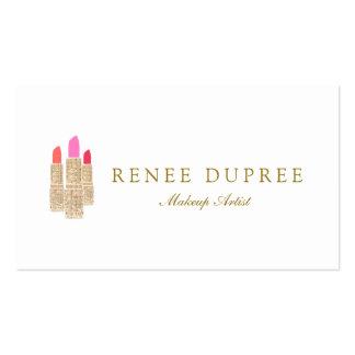 Gold Sequin Lipstick Makeup Artist Beauty Salon Double-Sided Standard Business Cards (Pack Of 100)