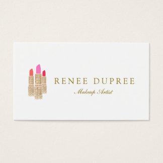 Gold Sequin Lipstick Makeup Artist Beauty Salon Business Card