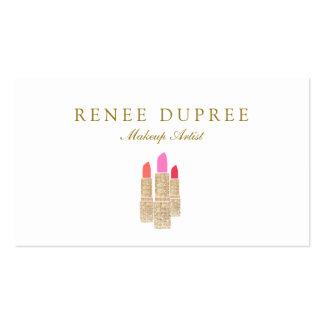 Gold Sequin Lipstick Makeup Artist Beauty Salon Pack Of Standard Business Cards