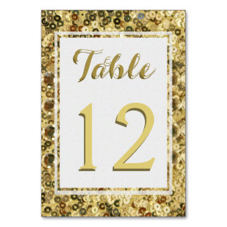 Gold Sequin Look Table Card
