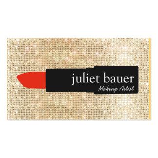 Gold Sequin Makeup Artist Lipstick Logo Beauty Pack Of Standard Business Cards