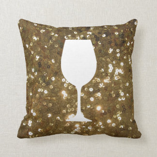 Gold sequin with wine glass silhouette cushion