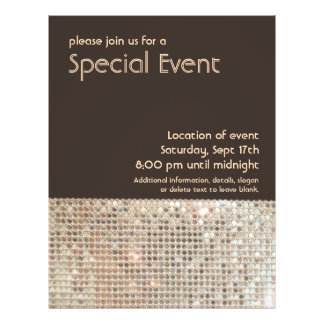 Gold Sequins 70's Retro Party Flyer