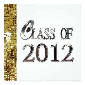 "Gold Sequins And Silver Graduation Invitations 5.25"" Square Invitation Card"