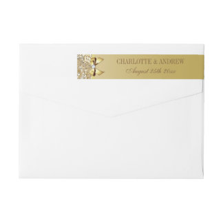 Gold Sequins Bow and Diamond Wraparound Return Address Label
