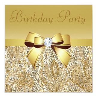 Gold Sequins, Bow & Diamond Birthday Party 13 Cm X 13 Cm Square Invitation Card