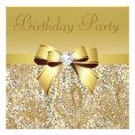 Gold Sequins, Bow & Diamond Birthday Party Custom Invite