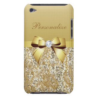 Gold Sequins, Bow & Diamond Personalized Barely There iPod Cases