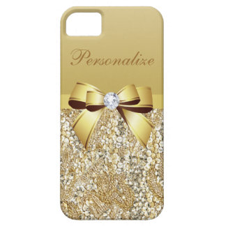 Gold Sequins, Bow & Diamond Personalized Case For The iPhone 5