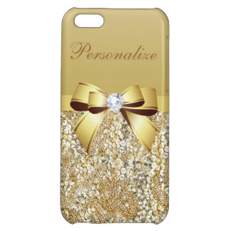 Gold Sequins, Bow & Diamond Personalized Cover For iPhone 5C