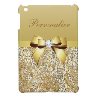 Gold Sequins, Bow & Diamond Personalized Cover For The iPad Mini
