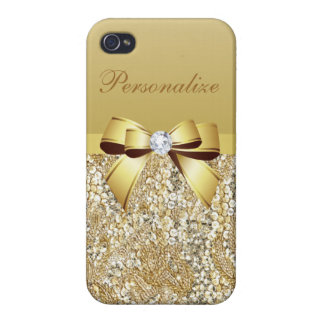 Gold Sequins, Bow & Diamond Personalized iPhone 4/4S Cases