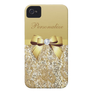 Gold Sequins, Bow & Diamond Personalized iPhone 4 Case