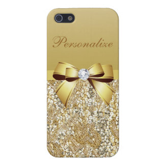 Gold Sequins, Bow & Diamond Personalized iPhone 5 Case