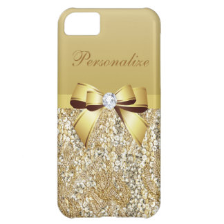 Gold Sequins, Bow & Diamond Personalized iPhone 5C Case