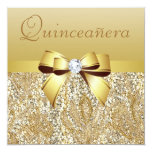 Gold Sequins, Bow & Diamond Quinceanera Custom Announcements