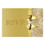 Gold Sequins, Bow & Diamond RSVP Personalized Announcement
