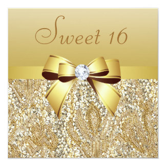 Gold Sequins, Bow & Diamond Sweet 16 13 Cm X 13 Cm Square Invitation Card
