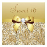 Gold Sequins, Bow & Diamond Sweet 16 Invite