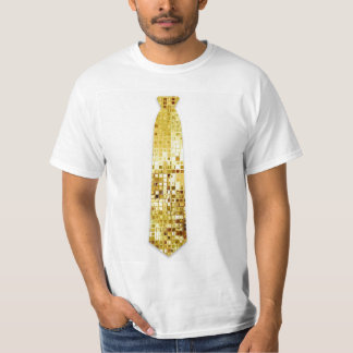 Gold Sequins Look Fake Tie T-Shirt