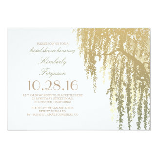 Gold Shades Willow Tree Elegant Bridal Shower 13 Cm X 18 Cm Invitation Card