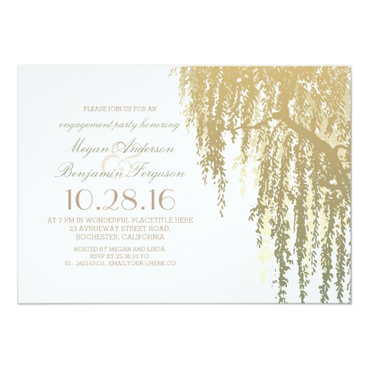 Gold Shades Willow Tree Elegant Engagement Party Card