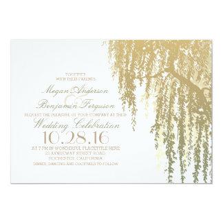 Gold Shades Willow Tree Elegant Wedding 13 Cm X 18 Cm Invitation Card