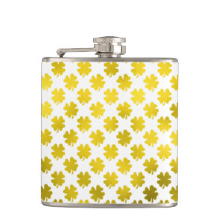 Gold Shamrock Four Leaf Clover Irish Metallic Hip Flask