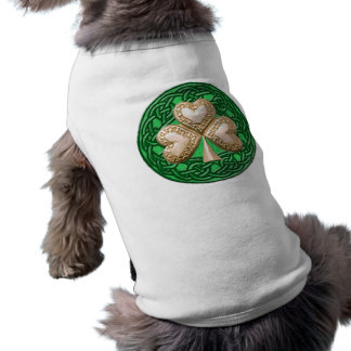 Gold Shamrock On Celtic Knots Dog Shirt